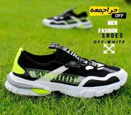 کفش مردانه off whiteمدل bep( مشکی سبز)